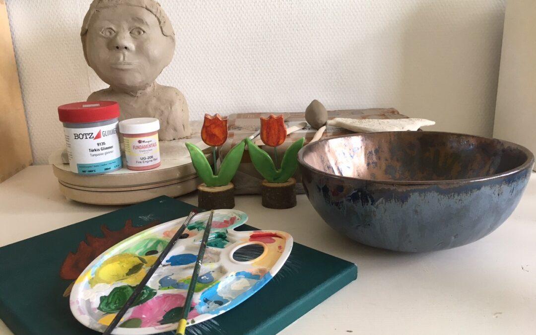Open atelier in Klei, Steen, Mozaik